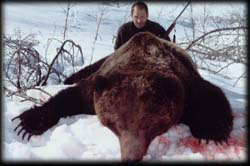 Edy Roach of Sulphur Springs, MT with his Old Spring Brown Bear